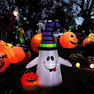 VIVOHOME 5ft Height Halloween Inflatable LED Lighted White Ghost with Pumpkin Lantern Blow up Outdoor Lawn Yard Decoration