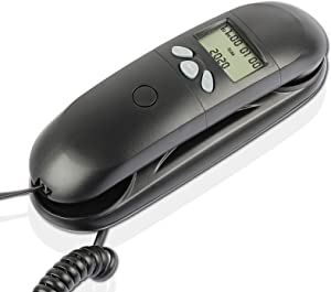 Corded Telephone with Caller ID, Easy to Operate, Wall-Mountable, One Key Redial, Flash, Mute, Pause, Hold, Reset, Easy to Operate, Space Saving, Load Ring Tone, Desktop Phone, Black