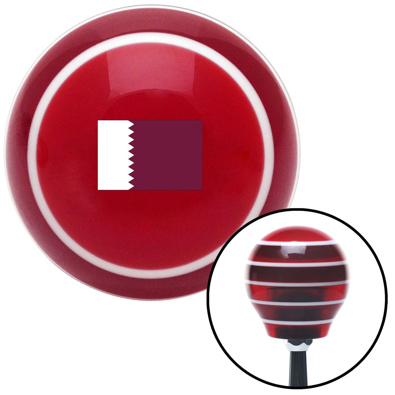 ASCSNX1625847 Qatar Red Stripe with M16 x 1.5 Insert American Shifter 305220 Shift Knob