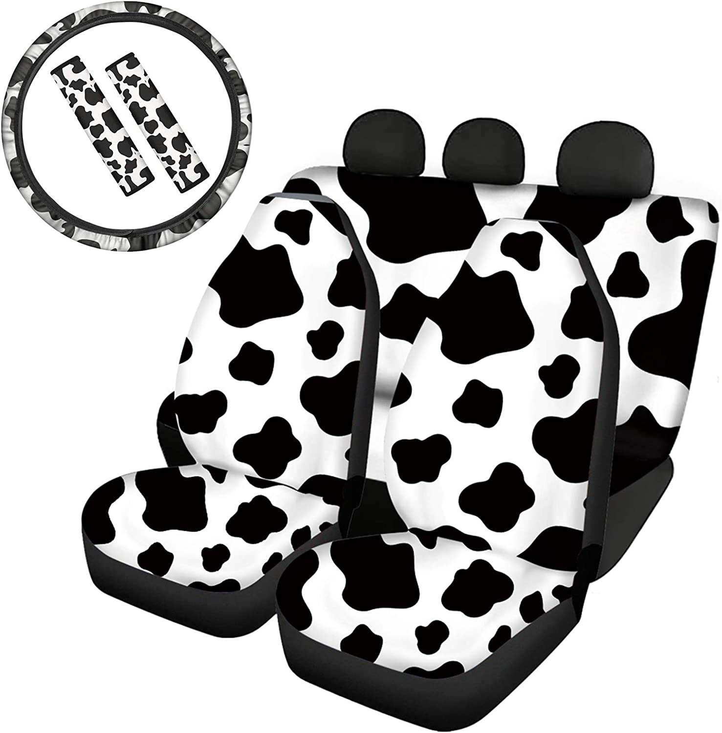 JOAIFO 7Pcs Black White Cow Print Universal fit Car Seat Cover for Front and Rear Seat with Steering Wheel Cover and Seat Belt Set, Car Interior Decor Accessories Cute Animal Design