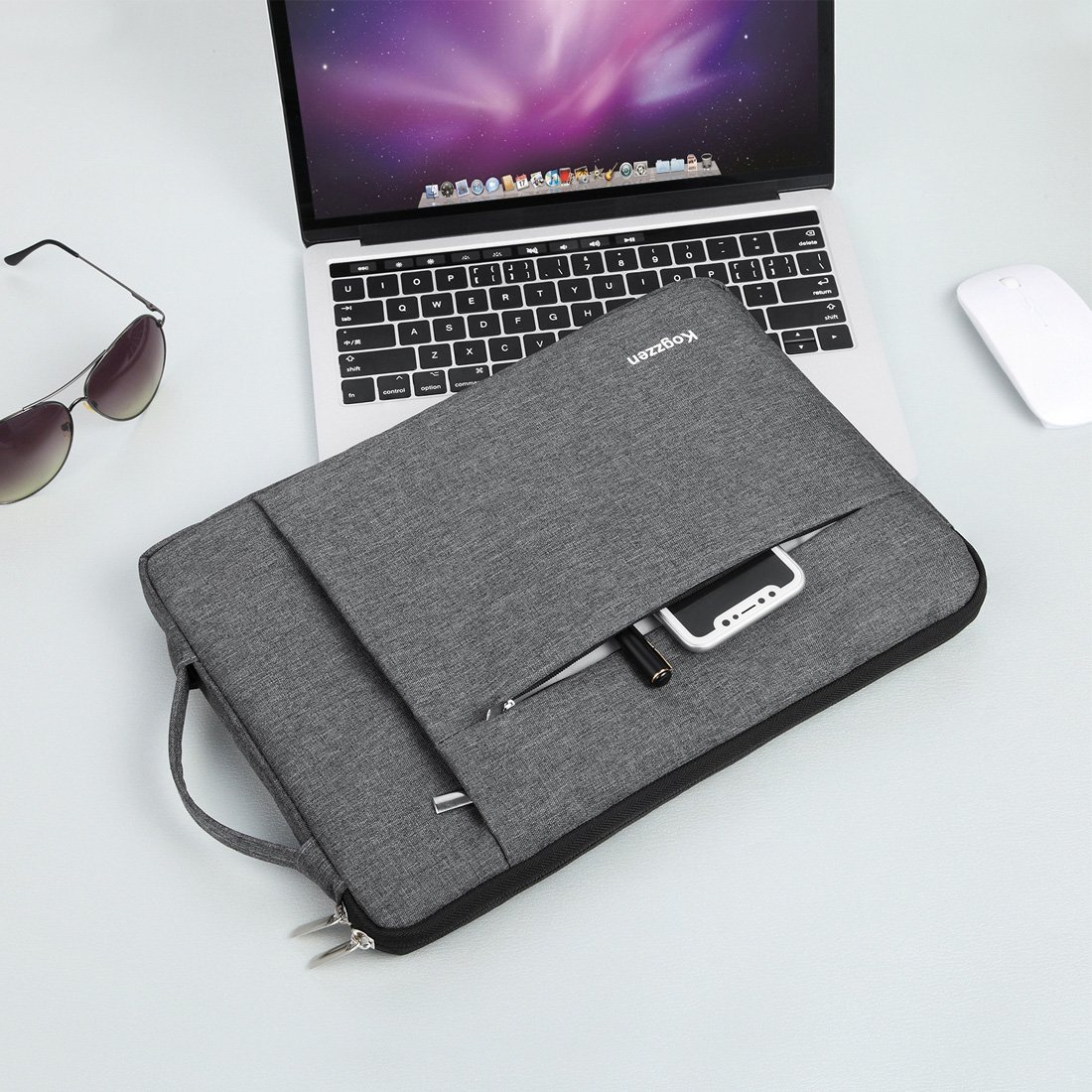 Kogzzen 13-13.5 Inch Laptop Sleeve Shockproof Lightweight Case Carrying Bag Compatible with MacBook Pro 13 inch/MacBook Air 13.3/ Dell XPS 13/ Surface Book 2 13.5/ Surface Laptop/iPad Pro 12.9 - Gray by Kogzzen (Image #7)