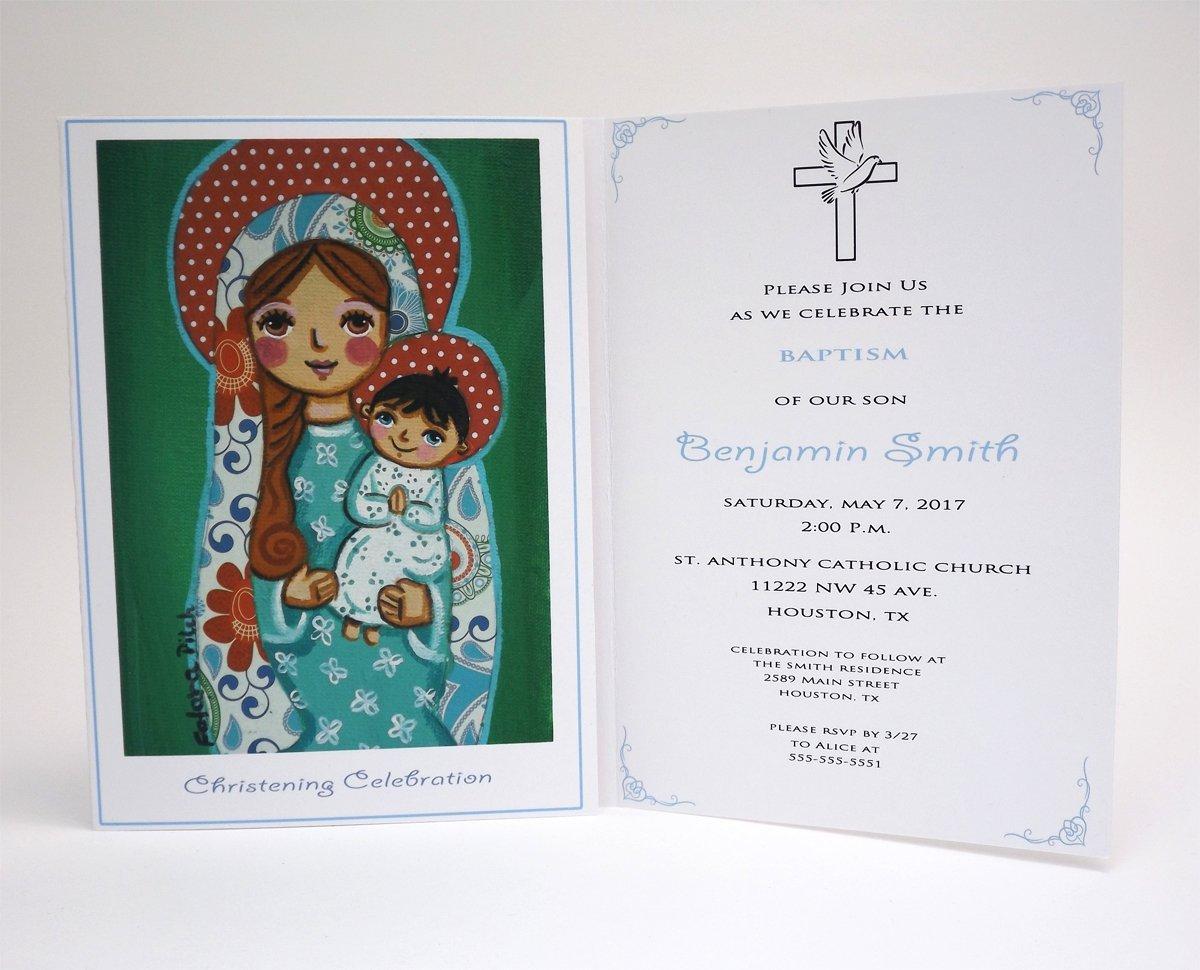 Amazon Com Boy Baptism Invitation Boy Virgin Mary Jesus Boy