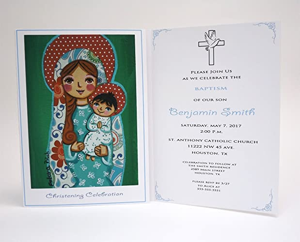 amazon com boy baptism invitation boy virgin mary jesus boy