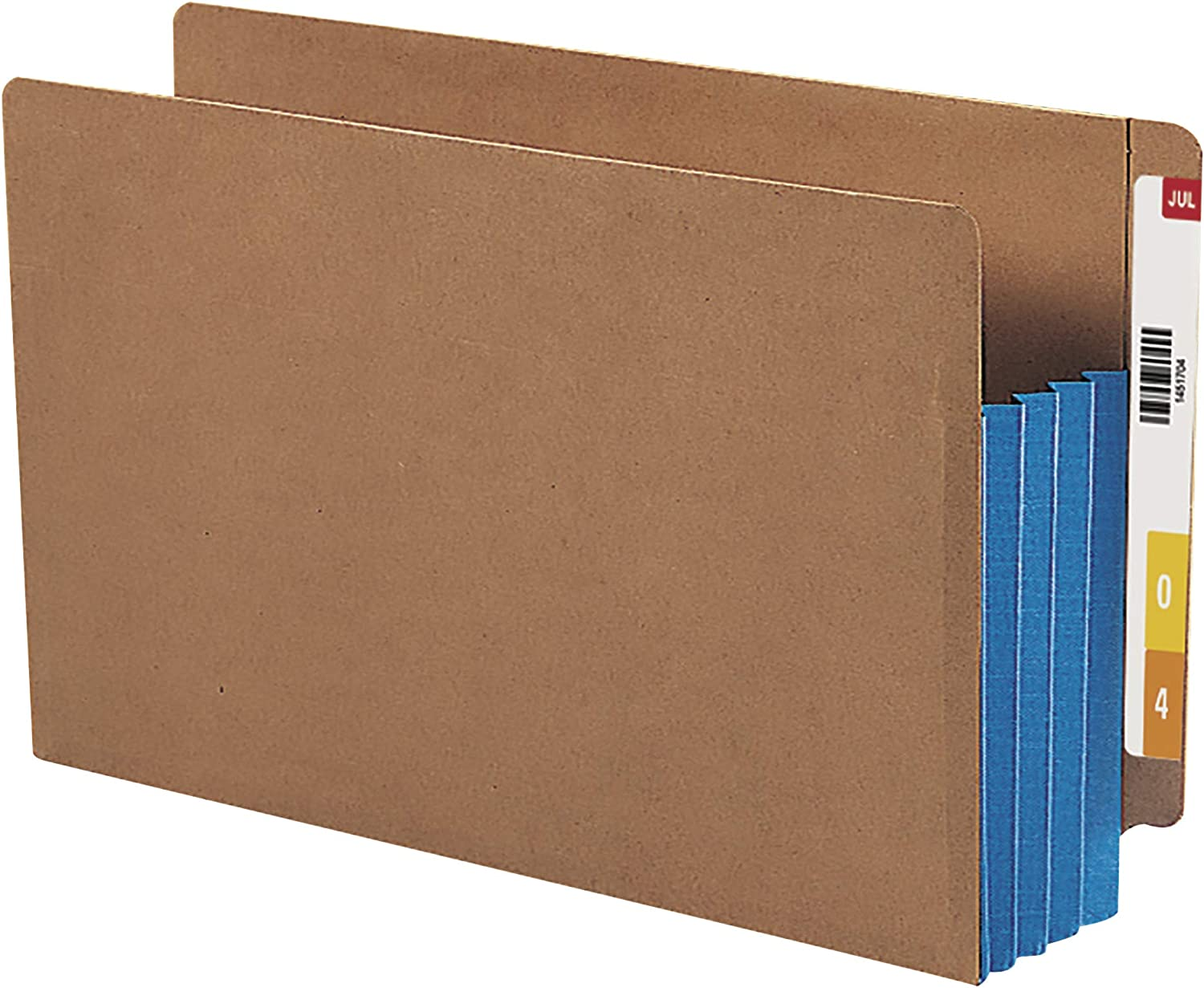 Extra Wide Legal Size Smead End Tab File Pocket Redrope with Blue Gusset 74679 10 per Box Reinforced Straight-Cut Tab 3-1//2 Expansion