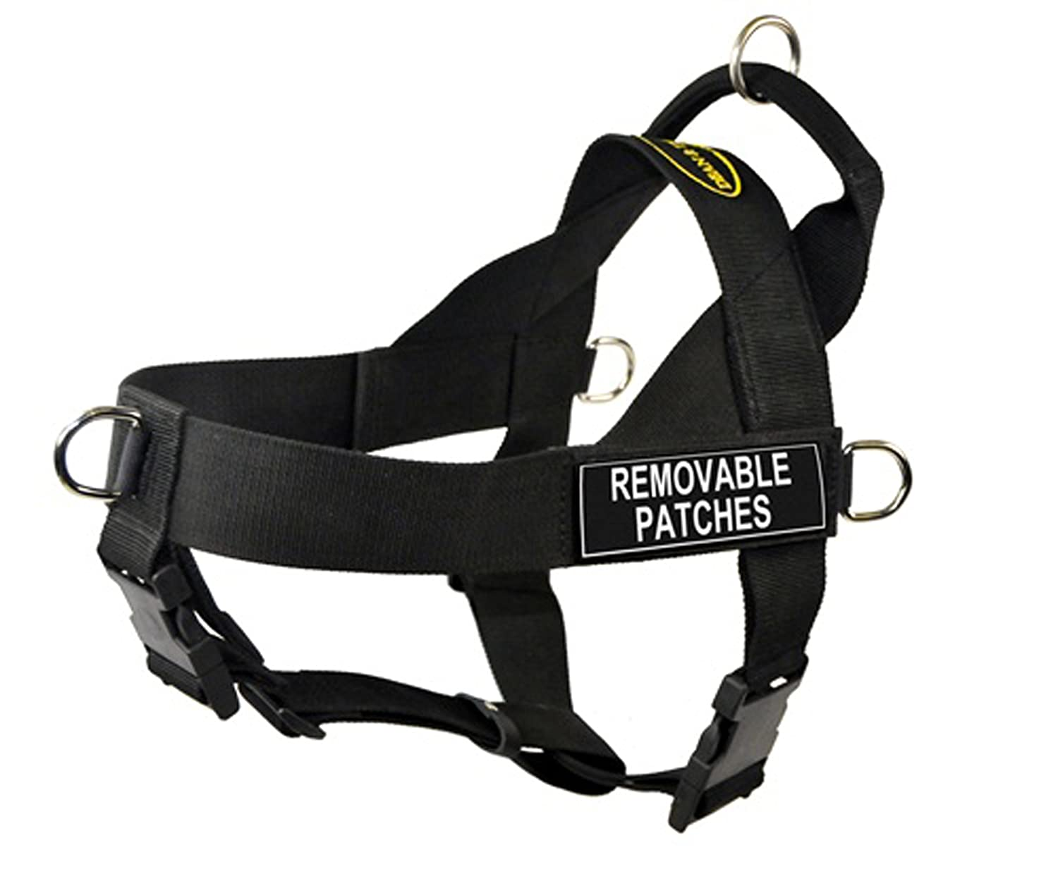 Large DT Universal No Pull Dog Harness, Clear Patches, Black, Large Fits Girth Size  79cm to 107cm
