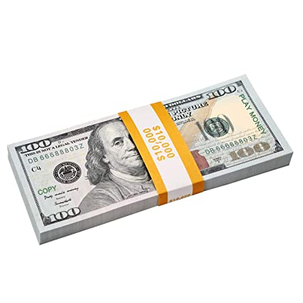 RUVINCE Prop Money Fake Money Dollar $10000 Full Print 2 Sided Play Money  USD for Movie TV Video Party with Realistic Copy Money Monopoly