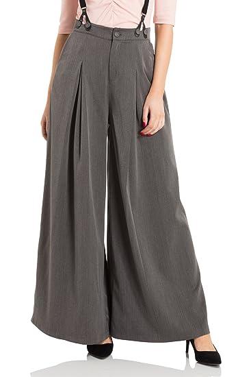d636420f63a VOODOO VIXEN Khloe Grey 40s Style Trousers  Amazon.co.uk  Clothing