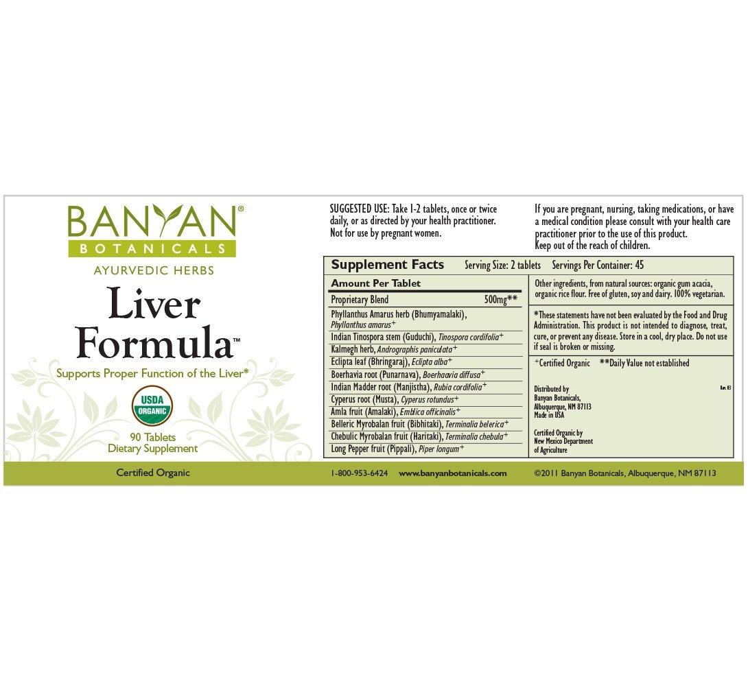 Buy Banyan Botanicals Liver Formula Certified Organic 90 Tablets