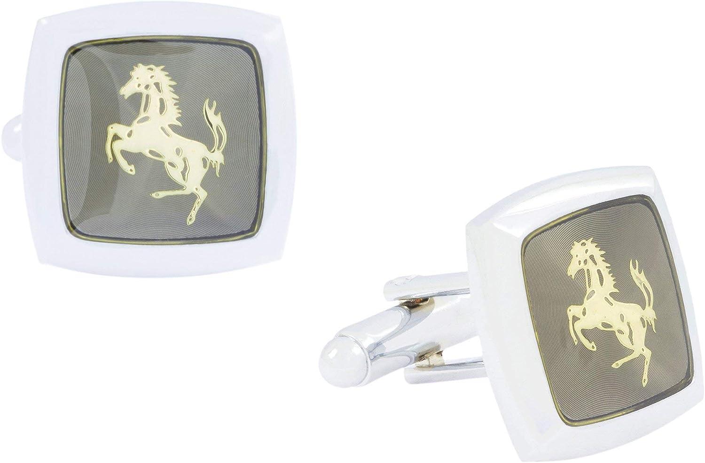 Le Jewelbox formelle Chemise Cheval brillant rhodium plaqu/é carr/é Gris Dor/é Boutons de manchette Paire gar/çon pour homme Coffret cadeau