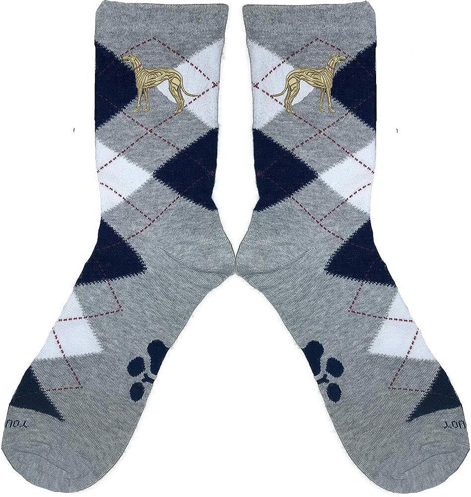 Greyhound Fawn Embroidered Argyle Socks