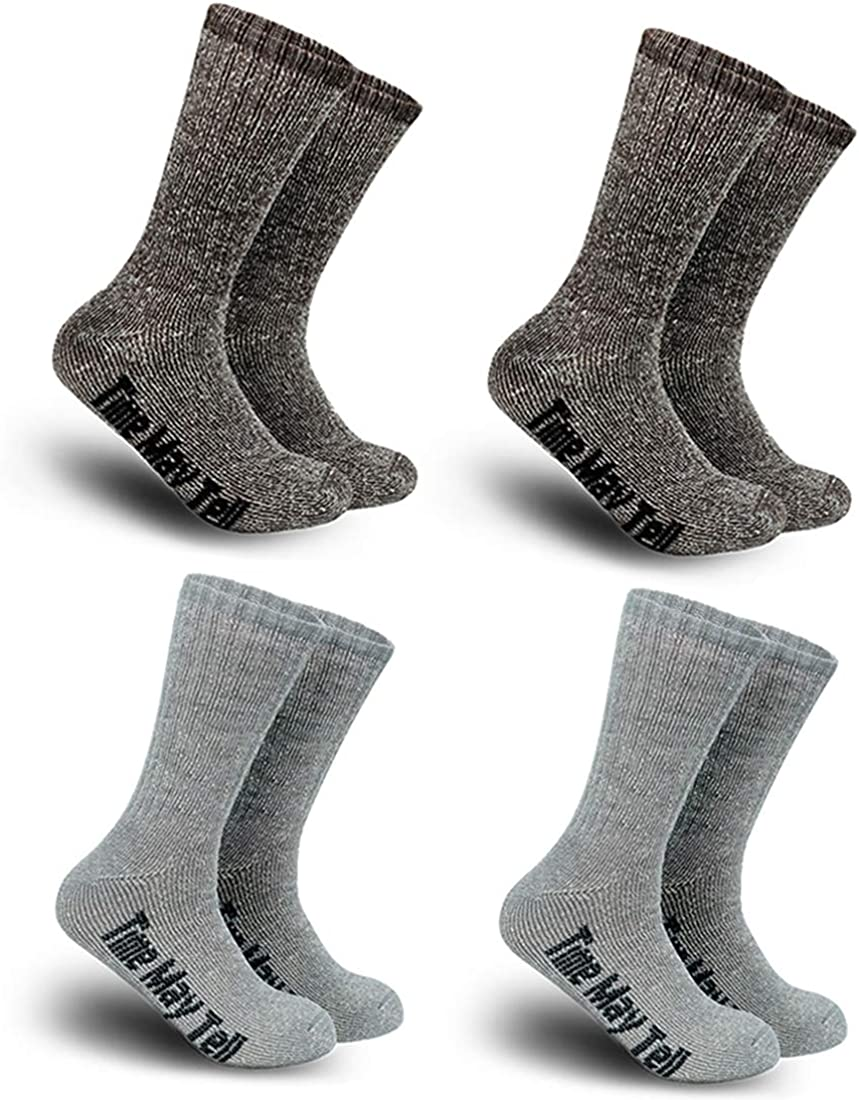 2//4 Pair,6-13 Size Time May Tell Mens Merino Wool Hiking Cushion Socks Pack