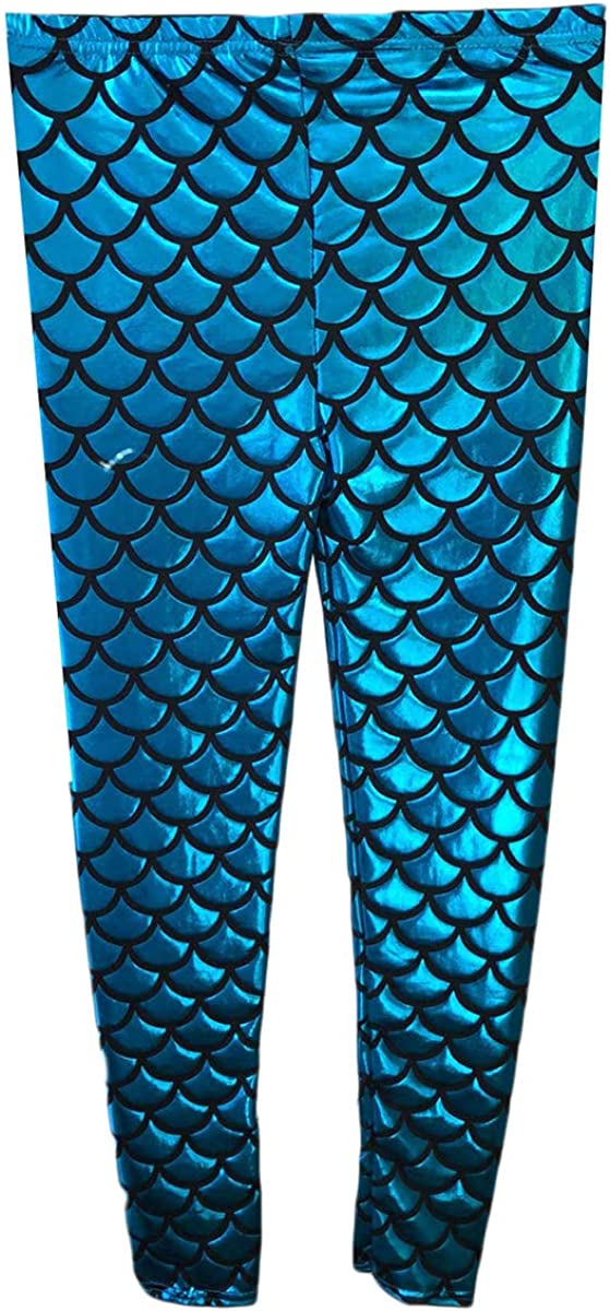 CRAZY CHICK/® Kids Girls Mermaid Metallic Fish Scale Stretch Disco Party Slim Holographic Leggings Age 5-13