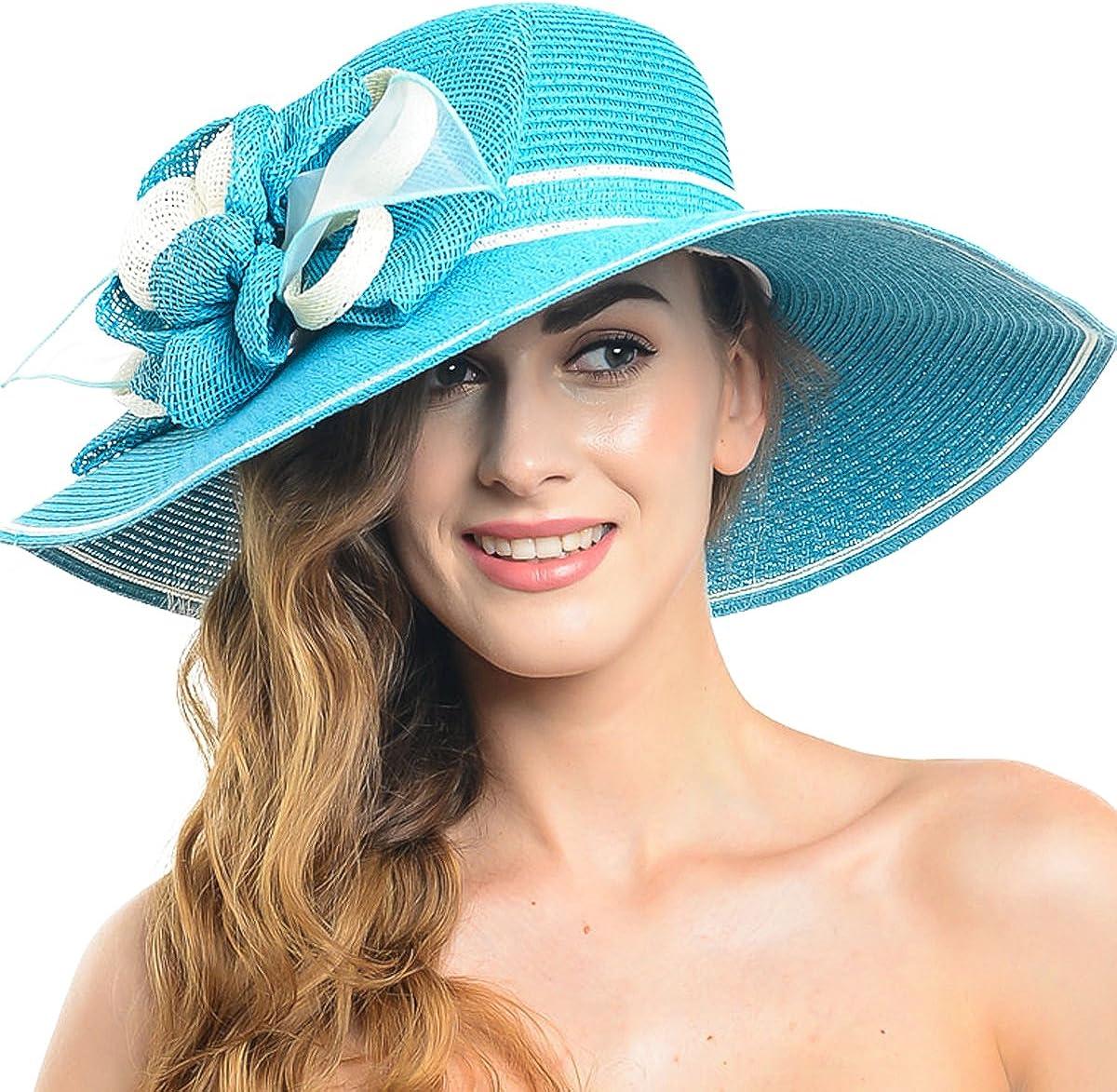 FORBUSITE Women Large Flower Stripe Church Wide Brim Sun Hat W205