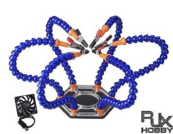 RJX Helping Hands tercera mano pana mano estación de soldadura base de aluminio herramienta, CF+Blue+Fan: Amazon.es: Deportes y aire libre