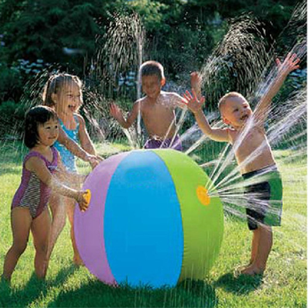 MAARYEE Inflatable Spray Summer PVC Beach Lawn Play Ball for Adults And Kids Outdoor Colorful Sprinkler Game Ball 75 cm