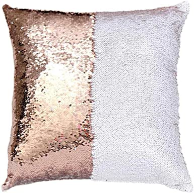 DIY Two Tone Glitter Sequins Throw Square Pillows Decorative Cushion Cover 40*40