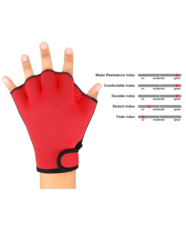 FitsT4 Aqua Gloves Webbed Paddle Swim Gloves Fitness Water ...