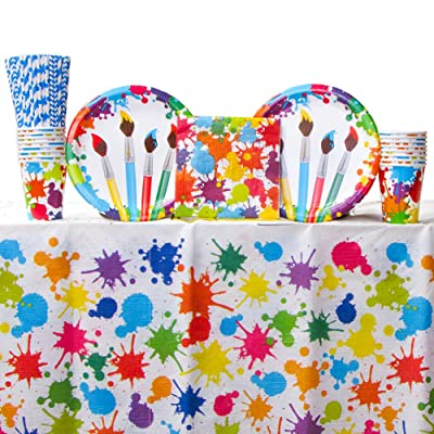 Art Party Supplies Pack Bundle for 16 Guests: Straws, Dinner Plates, Luncheon Napkins, Cups, and Table Cover: Toys & Games
