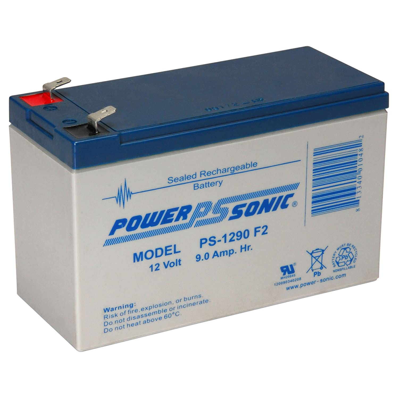 F2 Terminals Power-Sonic PS-1290 12 Volt 9 Amp Hour Rechargeable SLA Battery