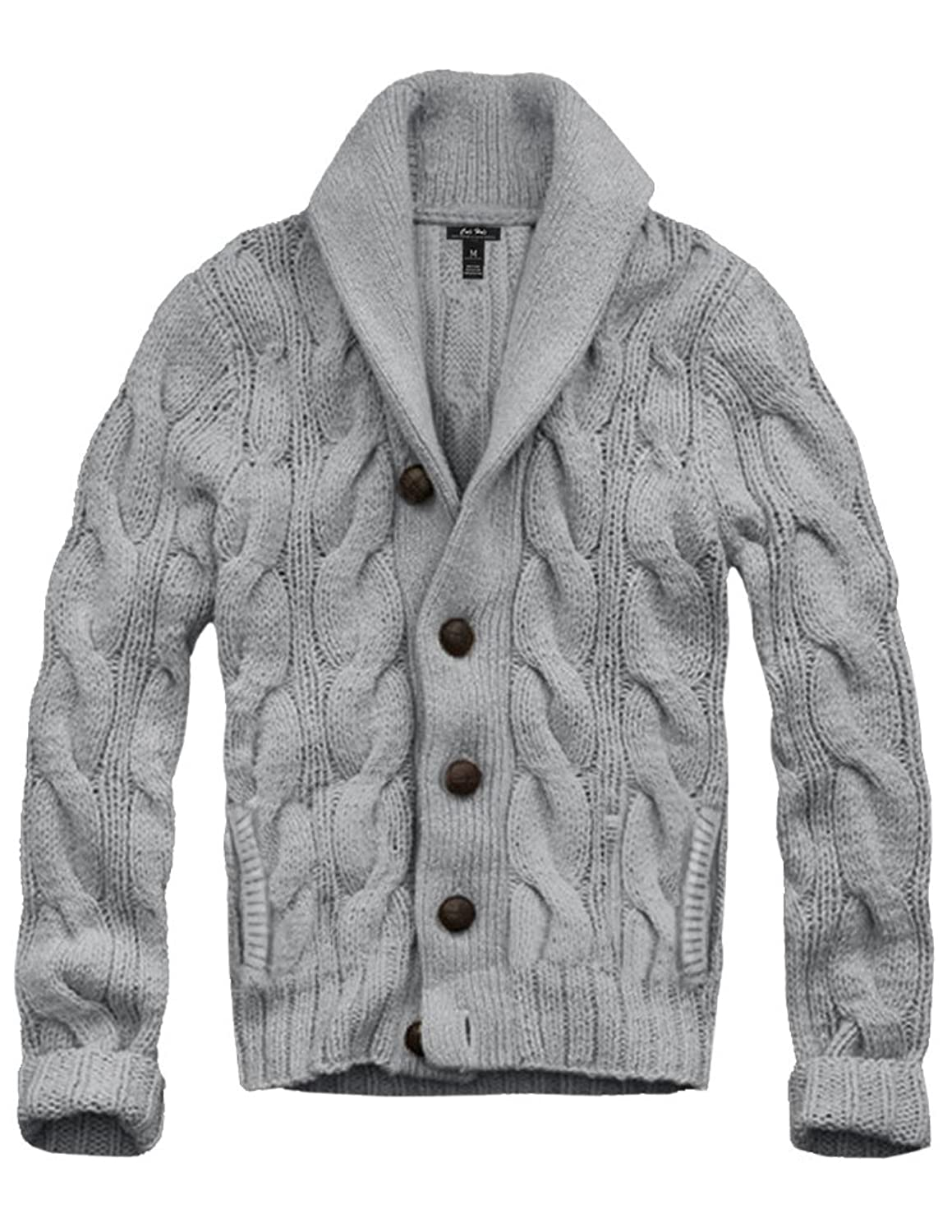 Mens Cali Holi Cable Knit Shawl Collar Cardigan Style Sweater Grey ...