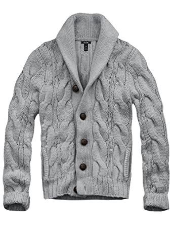 Mens Cali Holi Cable Knit Shawl Collar Cardigan Style Sweater Grey
