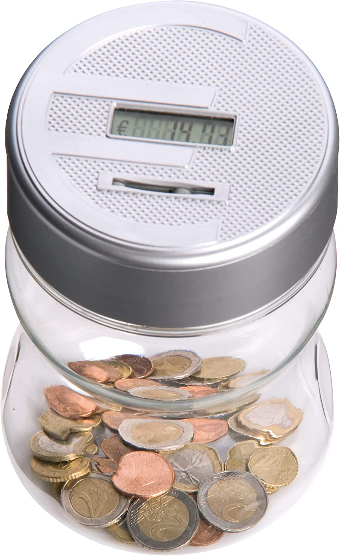 ni/ños ONEVER Caja de Moneda cretal de Digtal Caja autom/ática de Ahorro de Dinero del Contador de Monedas con LCD Dispaly 2.5L de Gran Capacidad para Monedas