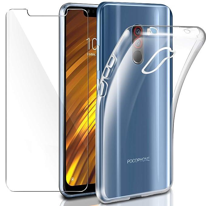 Leathlux Funda Xiaomi Pocophone F1 + Xiaomi Pocophone F1 Protector de Pantalla de Cristal Templado, Suave Transparente Silicona Protectora TPU Gel ...