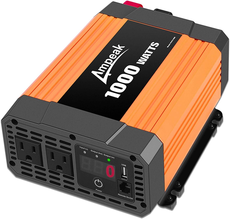 Amazon Com Ampeak 1000w Power Inverter Truck Rv Inverter 12v Dc To 110v Ac Converter With Dual Ac Outlets 2 1a Usb Modified Sine Wave Inverter Car Electronics
