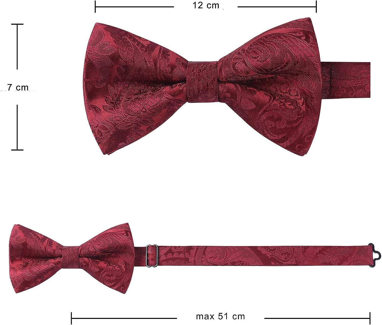 HISDERN Pajarita pre-atada para hombre Conjunto de gemelos cuadrados de bolsillo con pajarita para hombre Paisley y pajarita floral Pa/ñuelos Gemelos para el banquete de boda