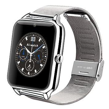 Reloj inteligente AIwatch Z50, inoxidable, con Bluetooth, GSM, cámara de fotos, compatible con smartphones iOS y Android, plateado: Amazon.es: Deportes y ...