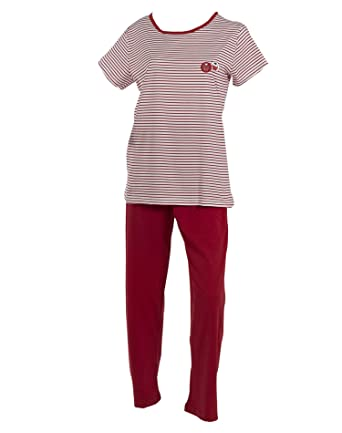 f060b466ebb9 Ladies Cotton Striped Pyjamas Cupcake Detail Short Sleeve Top   Trousers PJs  Small (Red)