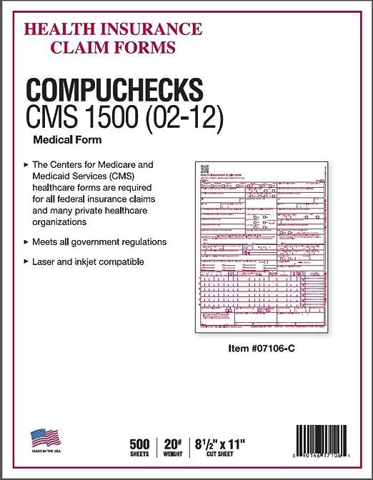 Amazon.com : NEW CMS 1500 Claim Forms - HCFA (Version 02/12) (500 ...