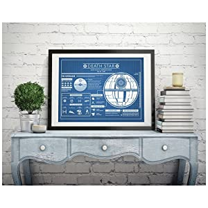 "Inked and Screened Star Wars Assorted Design Patent Art Poster Silk Screen Prints, 18"" W x 24"" W, Star Wars Death Star Infographic-Blue Grid"