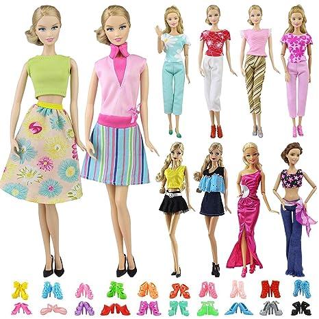 ZITA ELEMENT Vestiti Bambola 15 pezzi   5 Vestiti Abiti e 10 Scarpe per  Barbie Bambola ... c76f032a4d1
