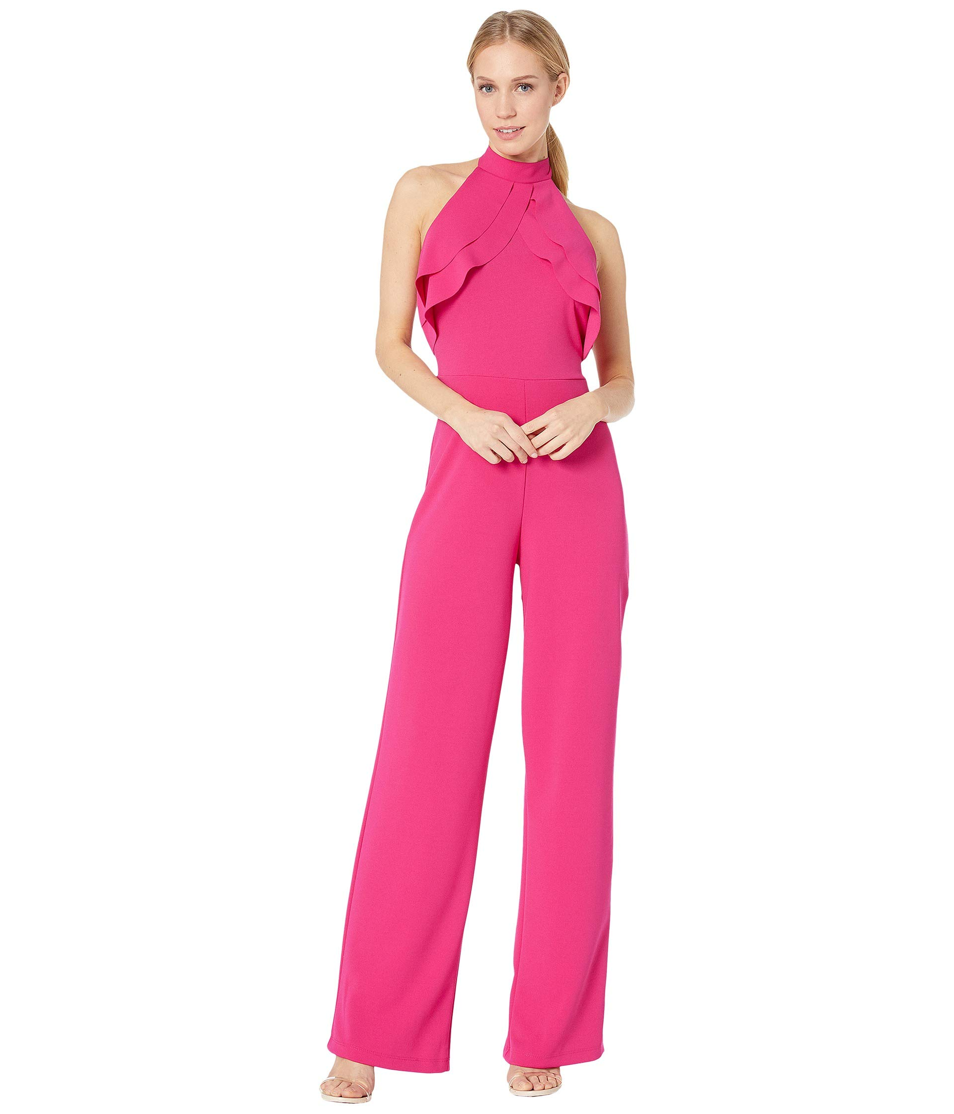 bebe Women's Ruffle Halter Neck Jumpsuit Strawberry 2