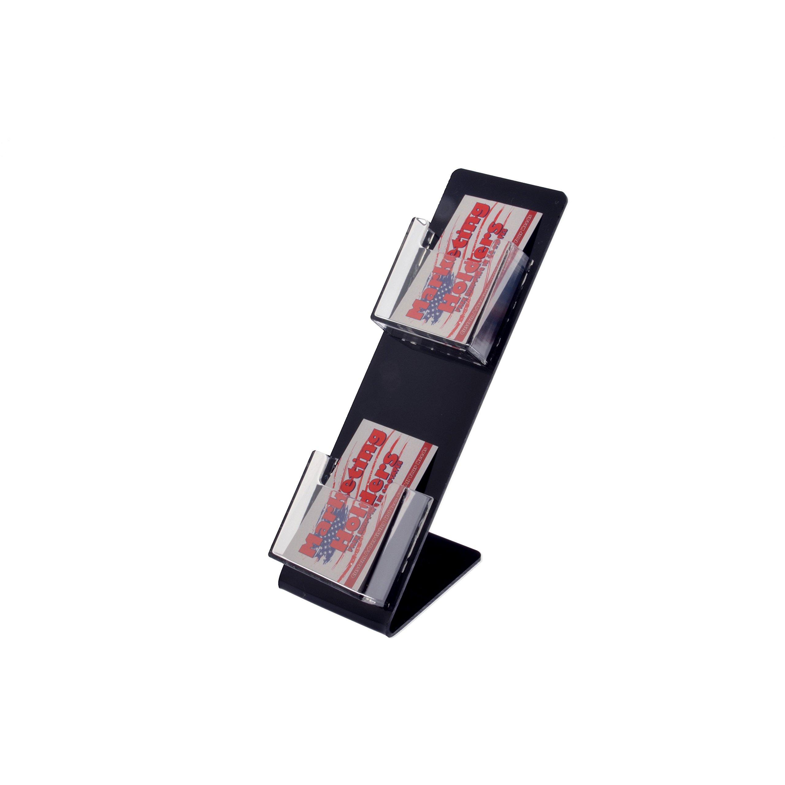 Marketing Holders 2 Vertical Pocket Business Card Holder 5''W X 10''H Slant Back Display (pack of 24)