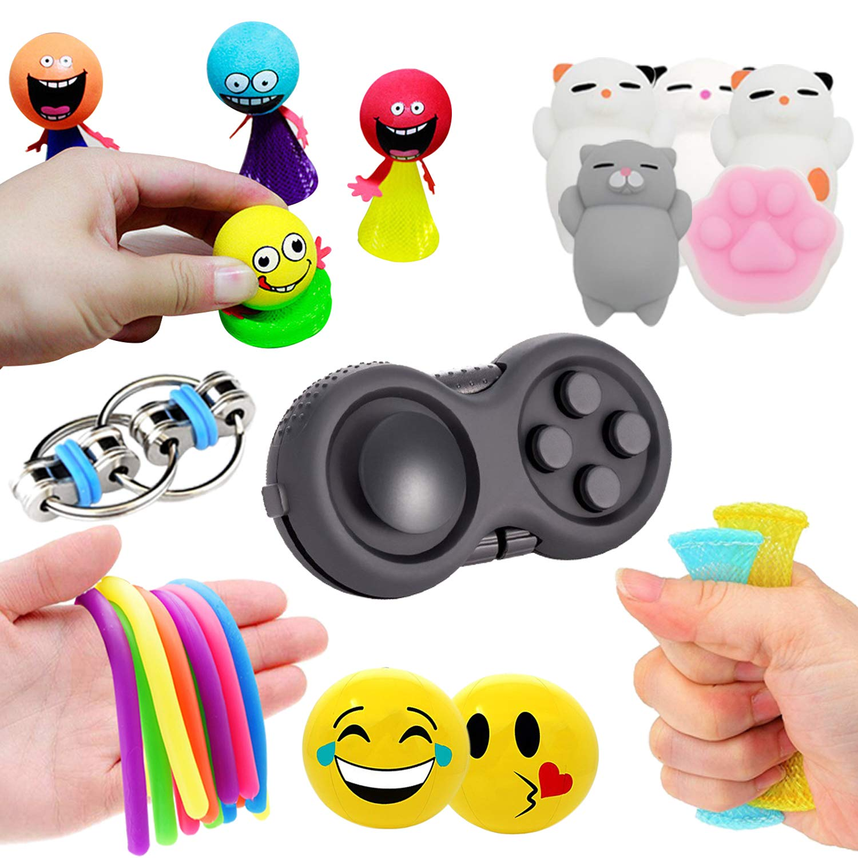 Leeche Fidget Toys 7 Varieties Bundles for Kids Sensory Toys Kit 10 Packs Fidget Cube/Mochi Animals Squishies/Emoji Stress Key Chain/Marble Twisted Toy Adult Add ADHD Stress Relax Prime