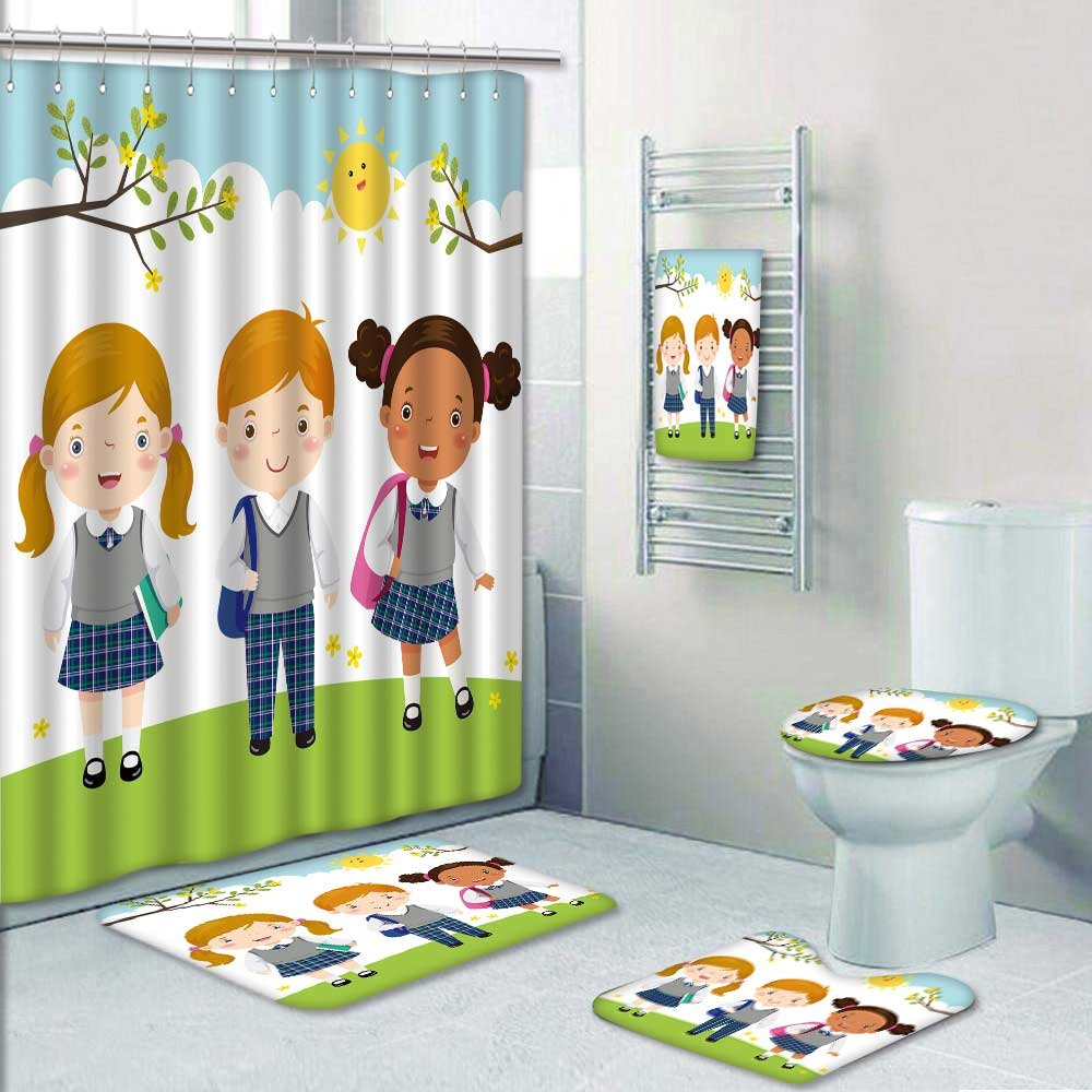PRUNUSHOME 5-piece Bathroom Set-Includes Shower Curtain Liner,vector of three kids in school uniform go to school Print Bathroom Rugs Shower Curtain/Bath Towls Sets(Small)