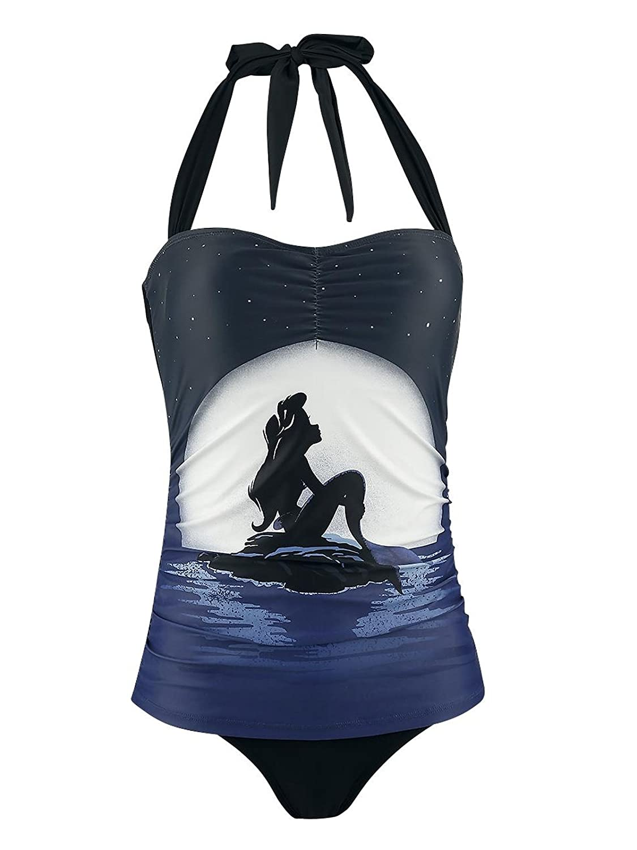 Arielle Disney Kleine Meerjungfrau Moonshine Damen Badeanzug Schwarz Allover Größe:XS