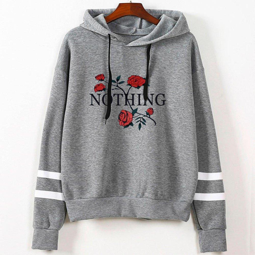 Nmch Womens Rose Print Striped Long Sleeve Hoodie Sweatshirt Drawstring Hooded Pullover Tops Blouse