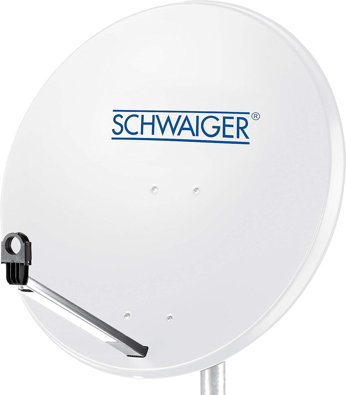 SCHWAIGER -159- Antena parabólica | Antena de satélite con Brazo de Soporte LNB y Soporte de Montaje en el mástil | Antena parabólica de Acero, 75 x ...