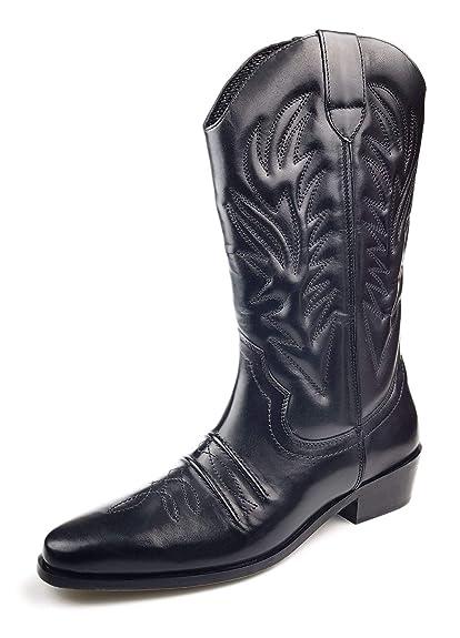 0d0e5b761da Gringos Kansas Mens Calf Length Leather Cowboy Boots Black UK 9