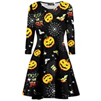 Oops Outlet Womens Ladies Long Sleeves Pumpkin Cobweb Bats Skulls Flared Smock Skater Swing Mini Dress Top Plus Size 8-34
