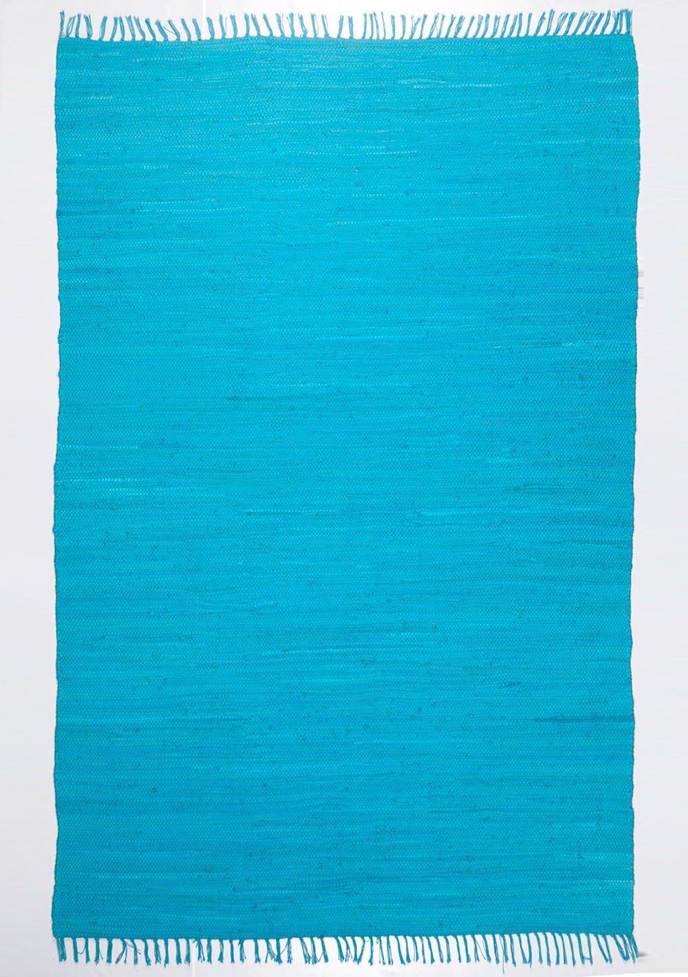 Handgefertigter Teppich Happy CottonSky Blau in Türkis Teppichgröße  160 x 230 cm