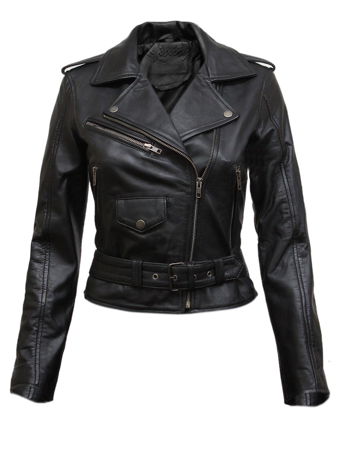 Brandslock Ladies Real Leather Biker Jacket Fit Style Vintage (Small(8))