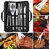 Kit Parrillero Utensilios y Cubiertos para Asador 9 Piezas Herramientas de Parrilla BBQ Barbacoa de Acero Inoxidable Kit Asad