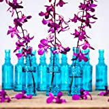 Luna Bazaar Small Vintage Glass Bottle Set (6.5-Inch, Calista Cylinder Design, Turquoise Blue, Set of 12) - Flower Bud Vases Bulk - For Party and Wedding Centerpieces