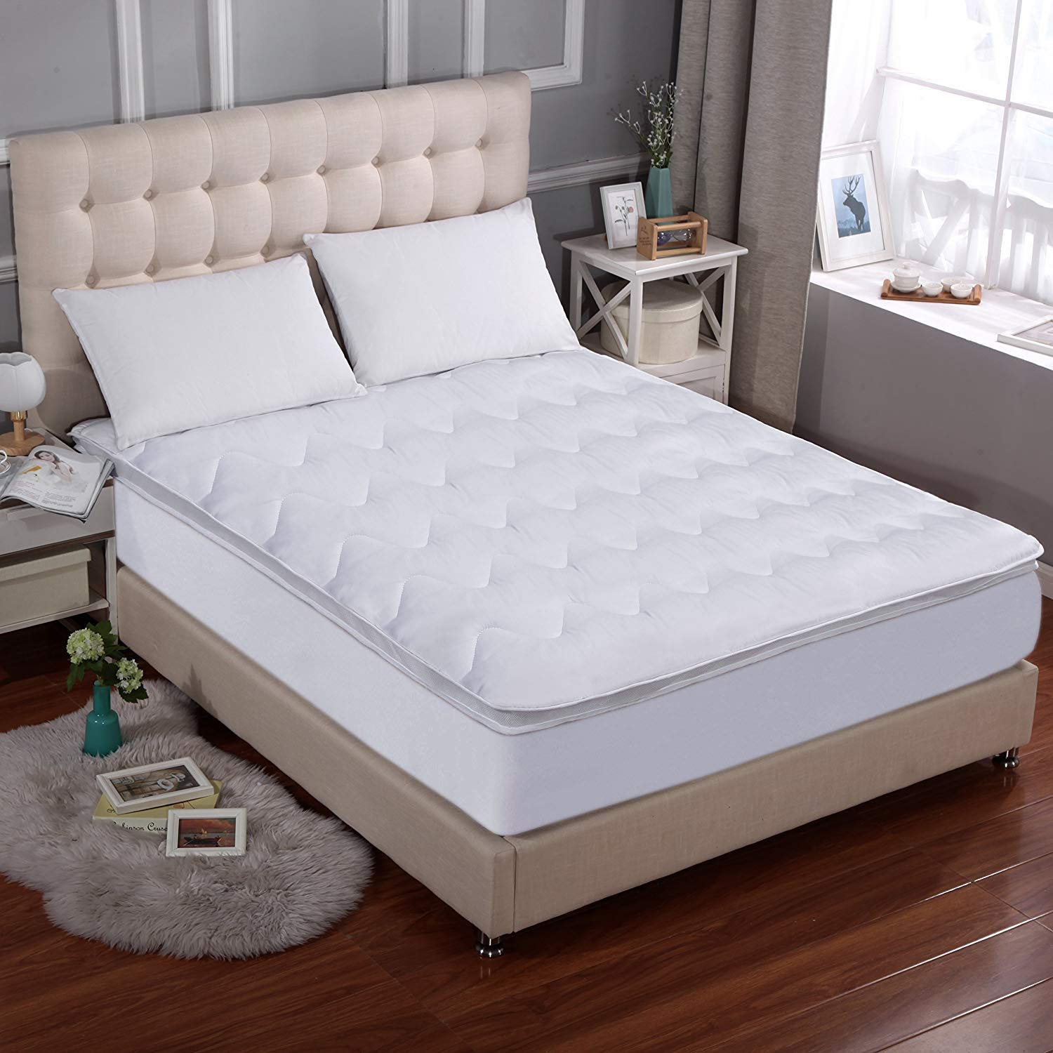 MARQUESS Mattress Topper with Double-Deck, Airflow New Breathable Structure and Ultra Soft Mattress Topper Cover, Cooling Full Size with 16'' Deep Pocket (54'' x 75'')