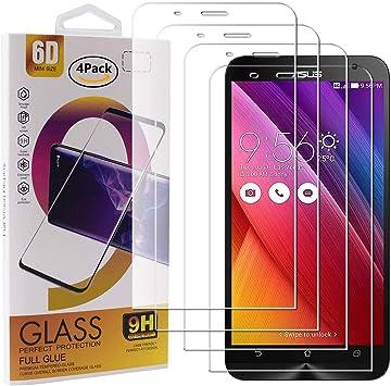 Guran 4 Paquete Cristal Templado Protector de Pantalla para ASUS Zenfone 2 ZE551ML / ZE550ML Smartphone 9H Dureza Anti-Ara?azos Alta Definicion Transparente Película: Amazon.es: Electrónica