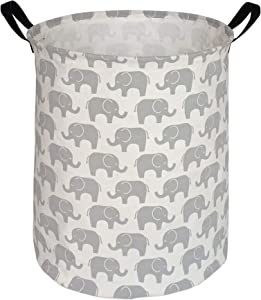 HUAYEE 19.7 Inches Large Laundry Basket Waterproof Round Cotton Linen Collapsible Storage bin with Handles for Hamper,Kids Room,Toy Storage (Grey Elephant)